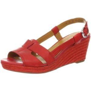 Franco Sarto Crispin Red Leather Espadrille Sandal